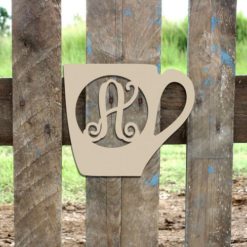 Coffee Mug Frame Monogram Letter Wooden Unfinished  DIY Craft