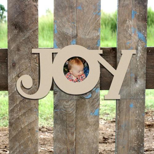 JOY Word Pictures Frame, Wood Art, Unfinished Wood Frame
