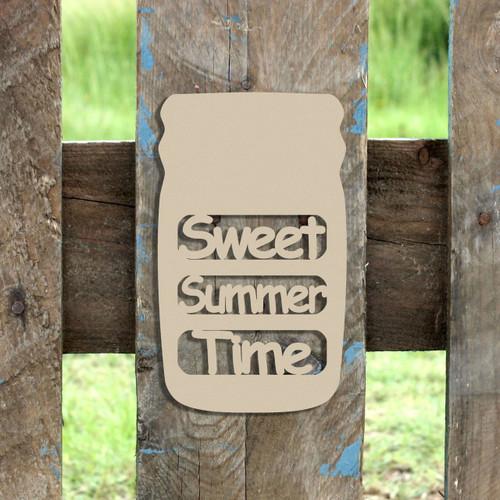 Mason Jar Frame Sweet Summer-Time, Letter Frame Wooden Unfinished