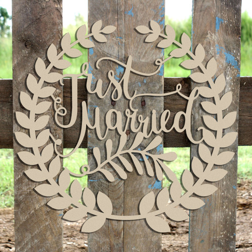 Roman Wreath - Just Married, Unfinished Cutout MDF