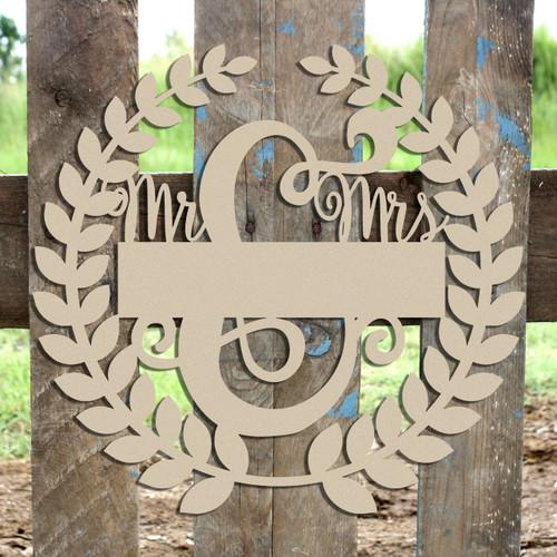 Roman Wreath - Mr & Mrs 1, Unfinished Cutout MDF