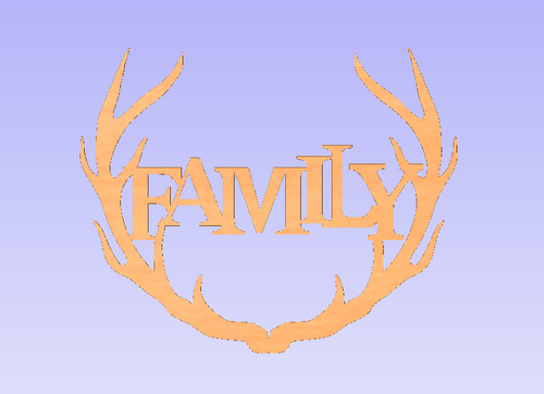 Wide Antler Block Family Unfinished Cutout, Wooden Shape, MDF DIY Craft