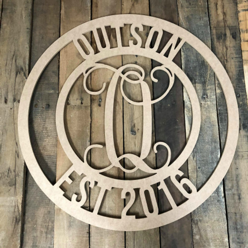 Circle Established year Vine Frame Name, Unfinished Wood Monogram