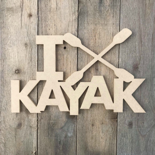 I Love Kayak Wooden Unfinished Sport Shape Wood Craft