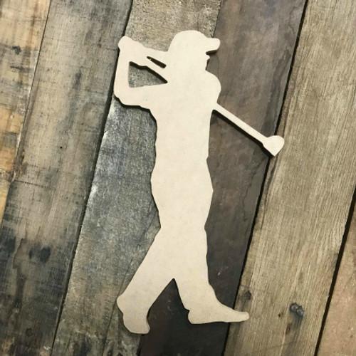 Golf Player Swinging Unfinished Wood Sport Shape, Mdf Golf Shape