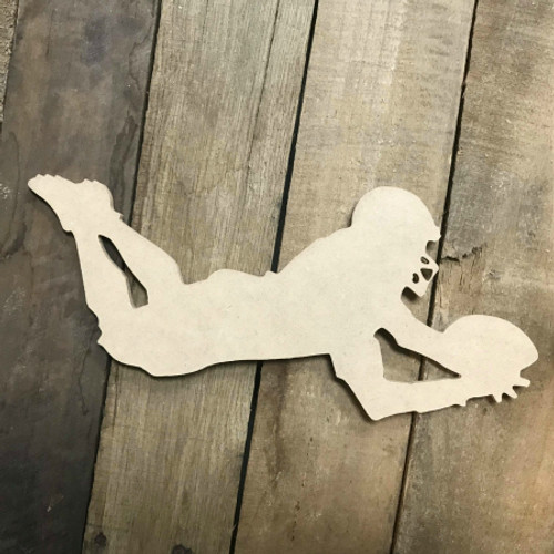 Football Player Diving Sport Unfinished Wood Craft