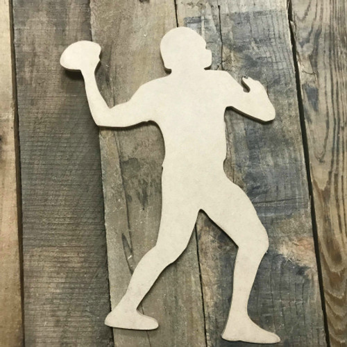 Football Player Quarterback Unfinished Wooden Craft Decor