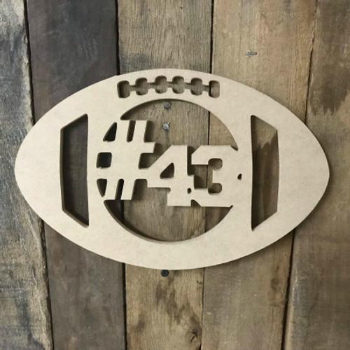 Football Number  Unfinished Framed Monogram