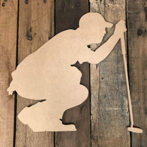Golfer Crouching Unfinished Wooden Cutout Sport Craft