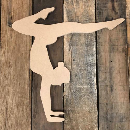 Gymnast Handstand 2 Unfinished Cutout Gymnastics Wooden