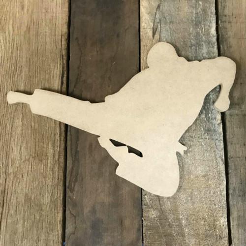 Karate Man Kicking Wooden Cutout Unfinished Wooden Craft Decor