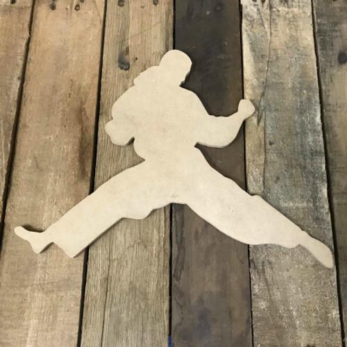 Karate Man 2 Wooden Cutout Unfinished Wooden Craft Decor