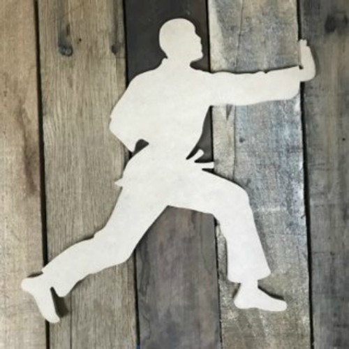 Karate Man 3  Wooden Cutout Unfinished Wooden Craft Decor