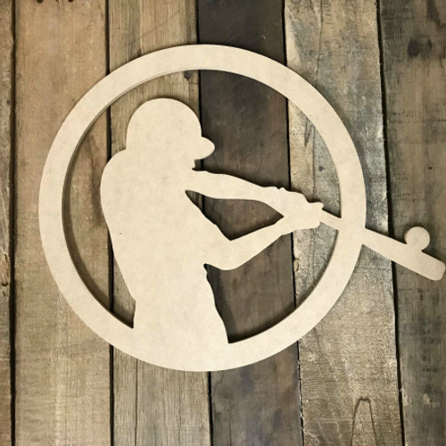 Baseball Player In Circle Unfinished Wooden Craft Decor Wood Cutout