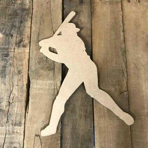 Baseball Player Batting Unfinished Wooden Craft Decor Wood Cutout MDF