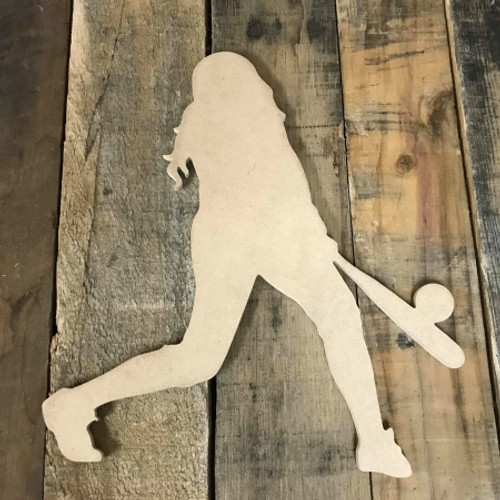 Softball Player Hitting Unfinished Wooden Craft Decor Wood Cutout MDF