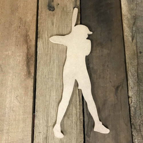 Softball Batter Unfinished Wooden Craft Decor Wood Cutout MDF