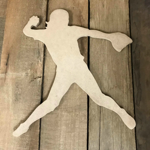 Softball Pitcher 2 Unfinished Wooden Craft Decor Wood Cutout MDF