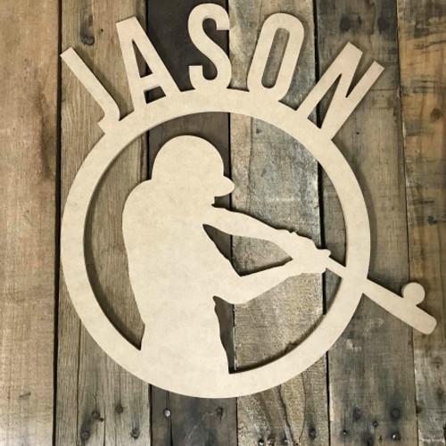 Baseball Batter Frame Unfinished Framed Monogram