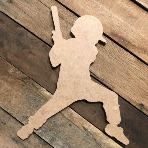 Tee Ball Batter 2 Unfinished Wooden Decor Wood Cutout MDF