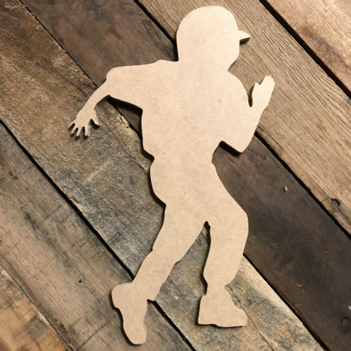 Tee Ball Player Running Unfinished Wooden Decor Wood Cutout MDF