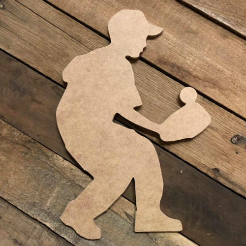 Tee Ball Player Catching Ball Unfinished Wooden Decor Wood Cutout MDF