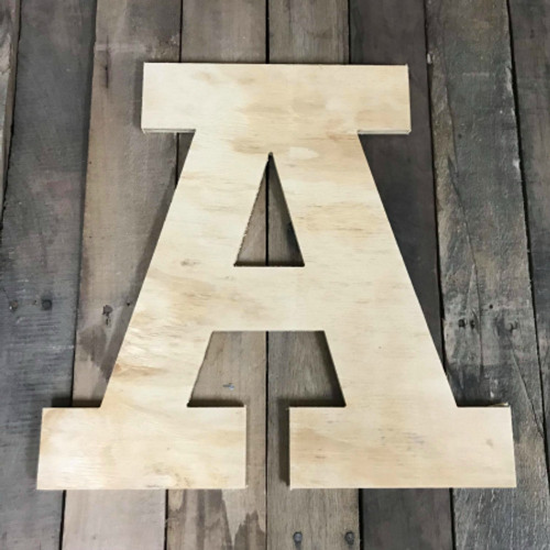 Wood Pine Letters, Uppercase Letters, Large Rockwell Font