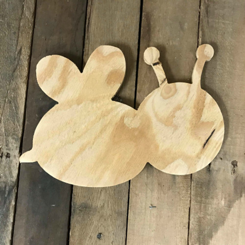 Wooden Pine Cutout, Bumble Bee, Unfinished Wood Shape, DIY Craft