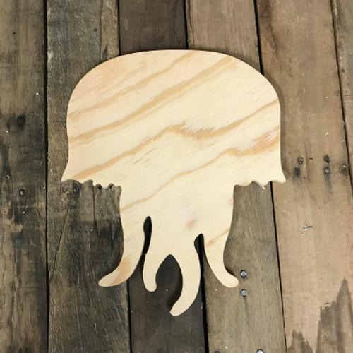 Wood Pine Shape, Jelly Fish, Unpainted Wood Cutout Craft