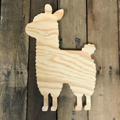 Wood Pine Shape, Llama, Unpainted Wood Cutout