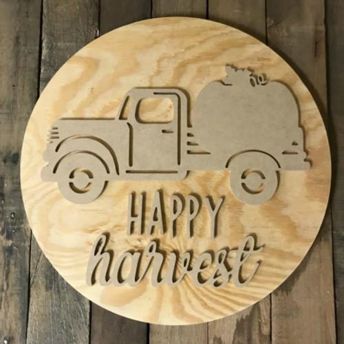 Happy Harvest, Unfinished Pine Circle Door Hanger, Wood Craft