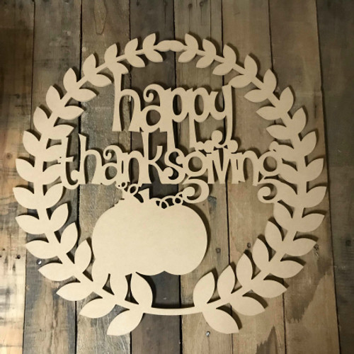 Happy Thanksgiving With Pumpkin Unfinished Cutout MDF