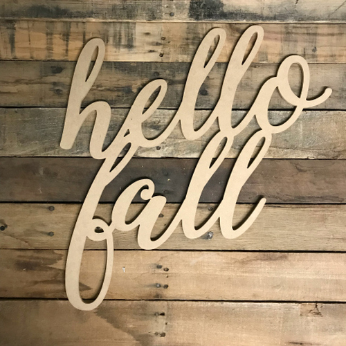 Script Hello Fall, Alphabet Paintable DIY