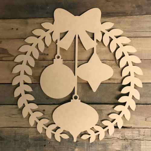 Wreath With Ornaments (MDF) Cutout - Unfinished  DIY Craft
