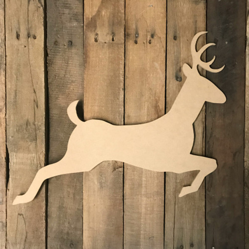 Reindeer Jumping 3, Unfinished Wood Shape, Wood Cutout