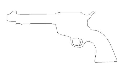 Short barrel revolver Unfinished Cutout, Wooden Shape, Paintable Wooden MDF