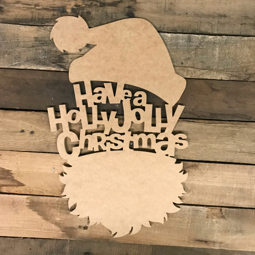 Jolly Santa Head Wood DIY (MDF) Cutout - Unfinished DIY Craft