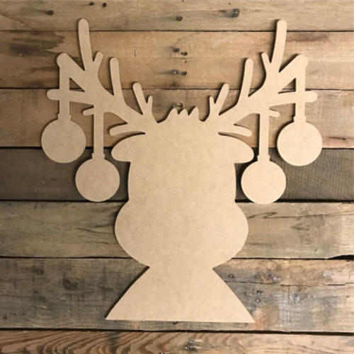 Reindeer With Ornaments Unfinished Christmas Shape Diy Wood Craft