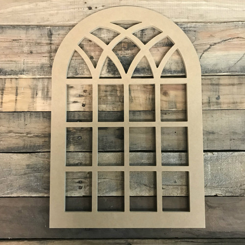 Paintable Cathedral Arch Window Decor,  Wooden Cutout Craft