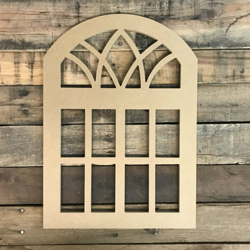 Paintable Wall Wood Cathedral Arch Window Decor,  Wooden Cutout Craft