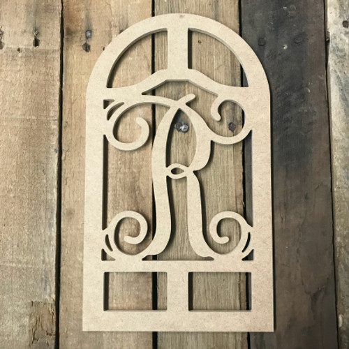 Cathedral Arch Frame Letter Monogram Unfinished DIY Craft