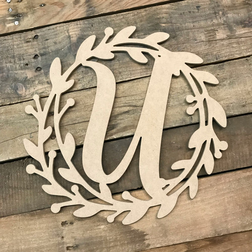 Cursive Monogram Letter Wreath,  Unfinished DIY Craft