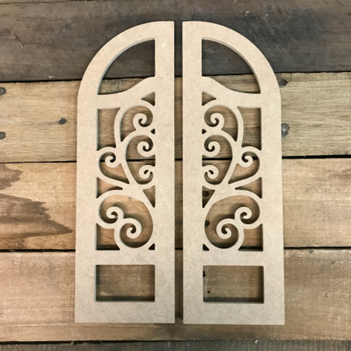 Cathedral Arch Window Decor,  Unfinished Wooden Cutout Craft
