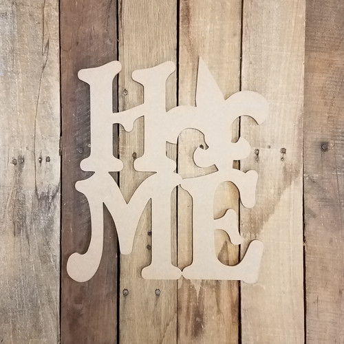 Home with Fleur De Lis Sign Wall Art Wooden DIY Craft MDF