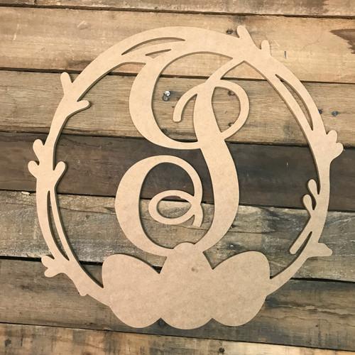 Wood Easter Egg Monogram Wreath Decor Paintable Cutout