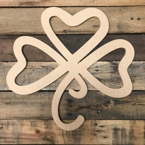 Heart Shamrock, Unfinished Cutout, Craft Wood Shape