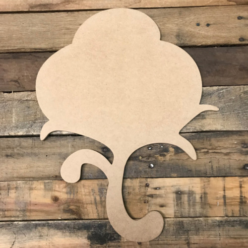 Cotton with Stem , Unfinished Cutout, Craft Wood Shape