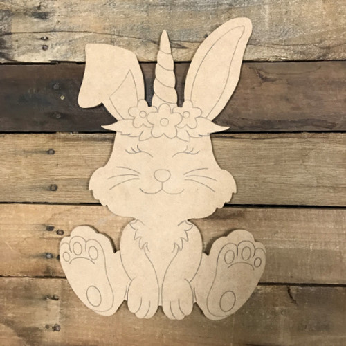 Bunny Unicorn, Unfinished Wood Shape, Paint by Line