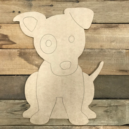 Jack Russell, Unfinished Wooden Cutout Craft, Paint by Line