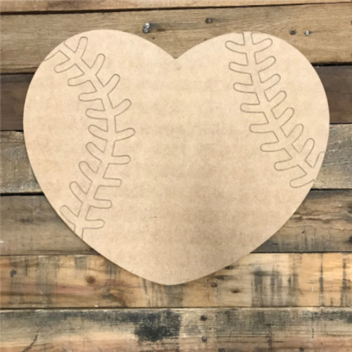 Baseball Heart, Unfinished Wooden Cutout Craft, Paint by Line